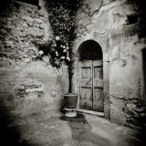 Corner of Quiet Square in Village of Lucignano D'Asso  Tuscany  Italy
