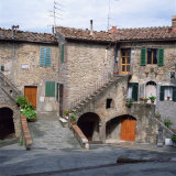Old Houses on a Street in the Village of Monteciano in Tuscany  Italy  Europe
