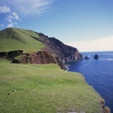 Grass Topped Cliffs Along the North West Coast on Tristan Da Cunha  Mid Atlantic