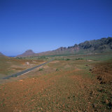 Road across a Volcanic Crater  Island of Sao Vicente  Republic of Cape Verde Islands  Atlantic