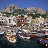 Boats Moored in the Marina Grande  Capri  Campania  Italy  Europe