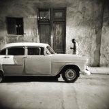 Man Walking Past Old American Car  Havana  Cuba  West Indies  Central America