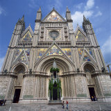 13th Century Duomo in the Town of Orvieto in Umbria  Italy  Europe