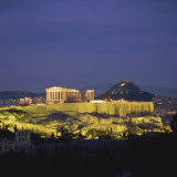 Parthenon and the Acropolis at Night  UNESCO World Heritage Site  Athens  Greece  Europe