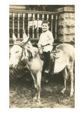 Boy Riding Mule