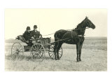 Two Men in Buggy on Prairie