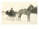 Woman and Infant in Horse-Drawn Sleigh