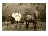 Three Women in Horse-Drawn Buggy
