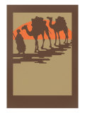 Woodcut of Camels and Nomad