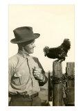 Farmer Talking to Rooster