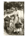 Woman Carrying Baskets of Grapes