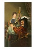 Cavalier Toasting Woman with Pilsner Glass
