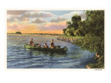 Boys Canoing on the Lake