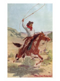 Cowpuncher on Horse with Lariat