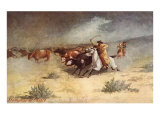 Cattle Stampede on the Range