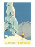 Big Snowy Tree and Skier, Lake Tahoe Reproduction d'art