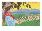 Woman Holding Almonds  California