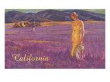 Woman in Field of Purple Flowers  California