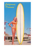 Blonde Woman with Tall Surfboard  California