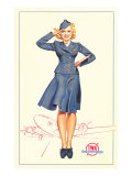 Pert Uniformed Stewardess Saluting