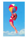 Jumping Woman with Beach Ball