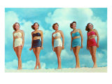 Five Women in Two-Piece Bathing Suits