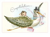 Congratulations  Stork and Baby Cartoon