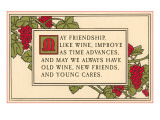 Friendship Motto with Grape Vines  Art Nouveau