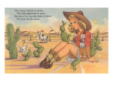 Cartoon Cowgirl on Cactus
