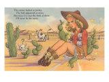 Cartoon Cowgirl on Cactus