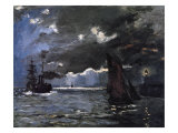 A Seascape  Shipping by Moonlight