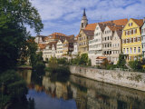 Buildings Overlooking the Neckar River at Tubingen  Baden Wurttemberg  Germany  Europe