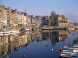 Reflections of Houses and Boats in the Old Harbour at Honfleur  Basse Normandie  France  Europe