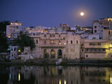 Moonlit View of Gangaur Ghat  with Old City Gateway  Udaipur  Rajasthan State  India