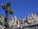 Monserrat Monastery and Ornate Cross  Monserrat  Cataluna  Spain  Europe