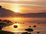 Mist Rising on Derwent Water at Sunrise  Lake District National Park  Cumbria  England  UK