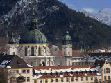 Domes and Clock Towers of Ettal Abbey in Winter  in Bavaria  Germany  Europe