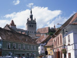 Clock Tower  on Old Town Citadel  from Piata Hermann Oberth  Sighisoara  Transylvania  Romania