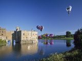Hot Air Balloons Taking Off from Leeds Castle Grounds  Kent  England  United Kingdom  Europe