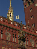 Clock  Wall Paintings and Bell Tower on the Town Hall in Basle  Switzerland  Europe
