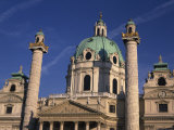 Pillars and Dome of the Karlskirche in Vienna  Austria  Europe