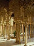 Court of the Lions in the Alhambra Palace in Granada  Andalucia  Spain