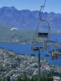 Chair Lift with Lake Wakatipu  the Remarkable Mountains and Queenstown  South Island  New Zealand