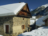 Houses Covered in Snow in the Village of Nevache Near Briancon  French Alps  France  Europe
