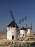 Line of Windmills Above the Village of Consuegra  Ruta De Don Quixote  Castile La Mancha  Spain
