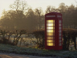 Red Telephone Box on a Frosty Morning  Snelston  Hartington  Derbyshire  England  UK