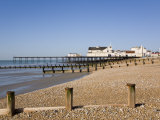 Deserted Pebble Beach at Low Tide and Pier from East Side  Bognor Regis  West Sussex  England  UK