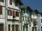 Row of Traditional Buildings in the Village of Ainhoa in the Pyrenees in Aquitaine  France