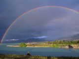 Rainbow over Lake Tekapo  Canterbury  South Island  New Zealand  Pacific
