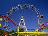 Big Wheel with Roller Coaster  Prater  Vienna  Austria  Europe